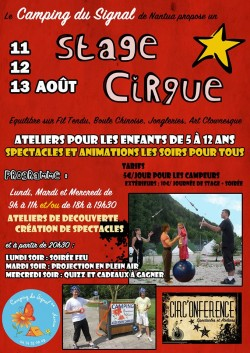 Stage cirque Camping du Signal Nantua